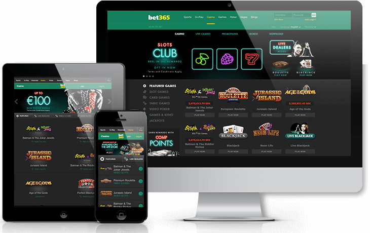 Bet365 screenshots of mobile, ipad and desktop version.